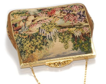 PETIT POINT tapestry embroidery · Ironing bag · Vintage · Landscape nature · multicolored embroidery · Leather suede