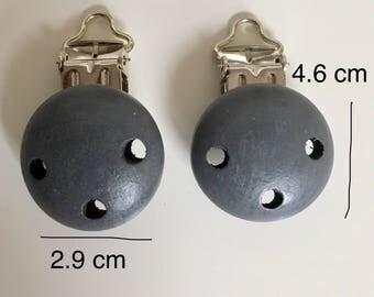 2x Dark Grey Wooden pacifier Clips*