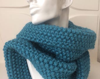 Winter Teal Hand Knit Scarf
