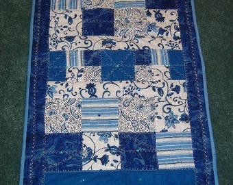 Blue embellished table runner