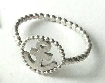 Silver ring with anchor and PERLDRAHT, 925 silver