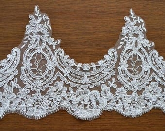 white Trim Lace, Lace Trim for Bridal Veil, Wedding Lace Trim,7.08   Inches Wide 1.09 Yards/ Craft Supplies, WL804