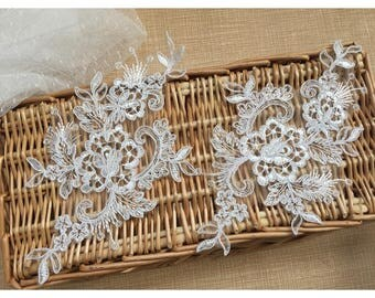 1 Pair Bridal Lace Applique DIY Trim Appliques in Off White for   Weddings, Sashes, Veils, Headpieces, WL1779