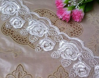 Vintage White Embroidery Flower Lace Trim 2.36 Inches Wide 1 Yard/ Craft Supplies, WL1761