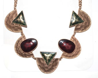 Geometric Brass Beaded Necklace