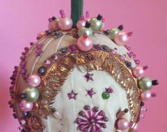 Vintage Victorian handmade Christmas ornament, kissing ball