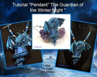 PDF tutorial pendant dragon Polymer clay pendant tutorial fantasy  Dragon pendant Polymer clay diy