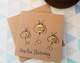 Manchester bee, Bee card, Animal Birthday Card, Handmade Card, Happy Birthday Card, Funny Card, Humour Card, Kids Birthday, Birthday Card,