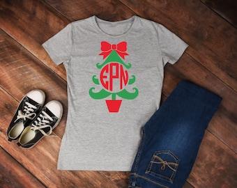 Monogram Christmas Tree T-Shirt; Monogram Christmas Tree Shirt, Christmas Long Sleeve Tee; Monogram Xmas T-Shirt; Monogram Christmas T-Shirt
