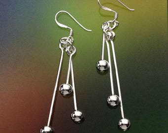 925 Solid Sterling Silver Ball and Bar chandelier Earrings-chandelier-Dangle-Polished