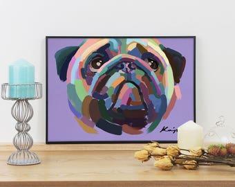 Pug 'I'm Hungry Too' Digital Oil Graphic Print