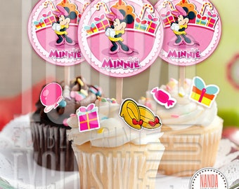 Cake topper Minnie Mouse edible image for cake and cupcake decorations