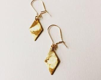 Diamond gold plated brass earring