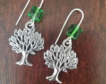 Green earrings, Crystal earrings, Cube earrings, Tree of life earrings, Tree earrings, Women's earrings, Gifts for her, Gifts under 20