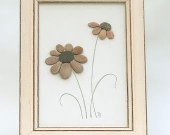 Pebble art, flowers decor, pebbles art, pebble picture, rock art, stone art, 3D picture, wall art