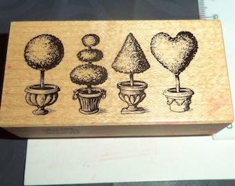 pattern 4 wooden rubber stamp tree design 4 x 7.5 cm 9 cm