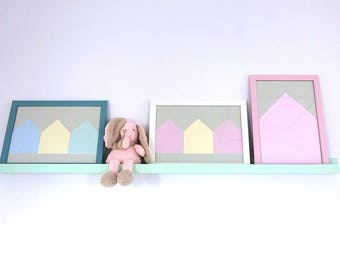Beach Huts Frame WallArt wall decor kids nursery bedroom hanging