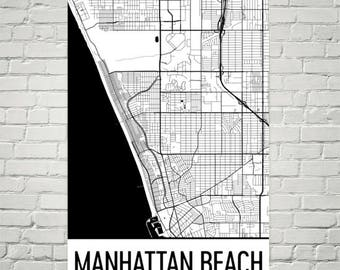 Manhattan Beach CA Map, Manhattan Beach Art, Manhattan Beach Print, Manhattan Beach California Poster, Wall Art, Map of California, Decor