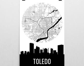 Toledo Skyline, Toledo Map, Toledo Skyline Art, Toledo Canvas Art, Toledo City Map, Toledo OH, Toledo Ohio, Toledo Print, Toledo Poster