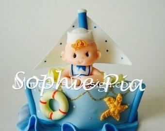 Baby shower nautical. Nautical baby shower. Sailboat cake topper