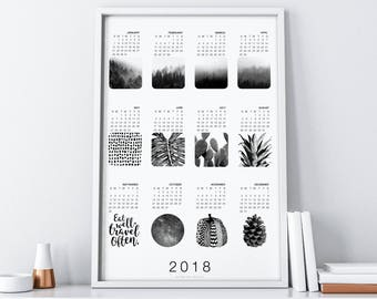 2018 Printable Calendar| 2018 Wall Calendar| Calendar 2018 Wall| 2018 Calendar Printable| 2018 Desk Calendar| Minimalist Poster Calendar