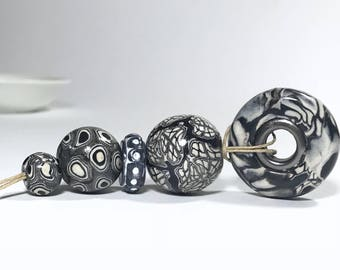 Handmade Black White Polymer Clay Beads, Metal Core Bead, Flat Round Bead, Beads For Jewelry Making, Beading Supply, Polymer Bead, Clay Bead