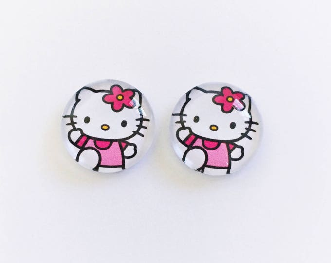 The 'Hello Kitty' Glass Earring Studs
