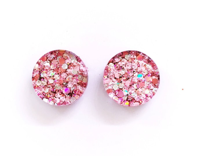 The 'Cherry Blossom' Glass Glitter Earring Studs