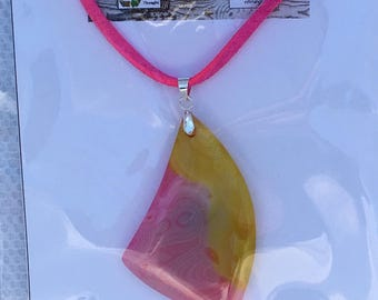 Yellow and pink onyx agate pendant