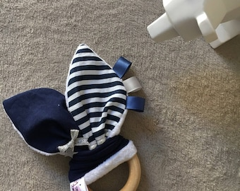 Untreated wood bunny ears teething ring Navy Blue and white