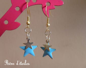 Light blue and silver stars earrings