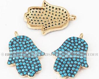 Turquoise Hamsa Hand charm micro paved  ,CZ/Micro pave bead/Cubic Zirconia CZ  ,17.5mm 1pc