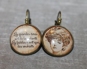 """Great souls have the will, weak that wishes"" - earrings metal Stud Earrings"