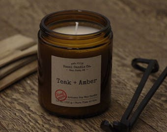 Teak and Amber Scented Candles, Eco Friendly, Vegan Soy Candle, Essential Oil Soy Candles, Vegan Gift, Wedding Gift, Gift for Him