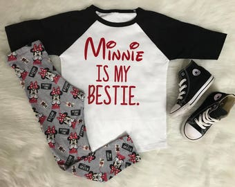 Minnie is my bestie top only availble in plain white tshirt or red or black raglan baseball tees