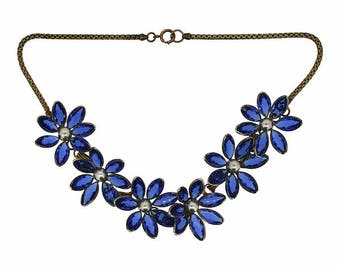 1940s Blue Rhinestone and Faux Pearl Vintage Flower Necklace
