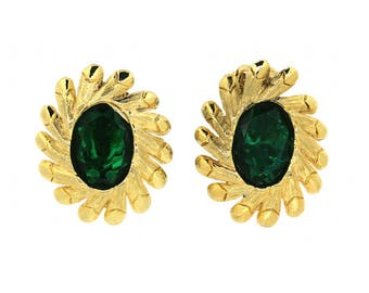 Schiaparelli 1950s Gold Tone and Green Glass Vintage Earrings