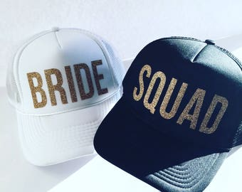 Bride - Squad - Snapback - GLITTER Trucker Hat - Bachelorette Party Hat - Honeymoon Hat - Bride Hat - White Hat - Beach Hat
