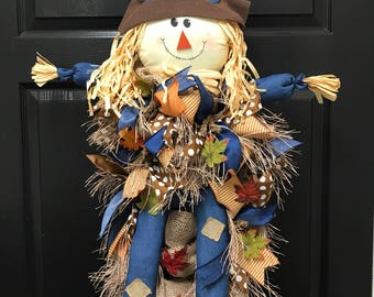 Scarecrow door hanger, scarecrow wreath, fall wreath, fall door hanger, autumn wreath