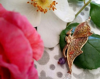Bronze pendant with natural stones, butterfly.