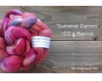 Merino hand dyed braid in' Summer Berries' 100 g  3.5 oz