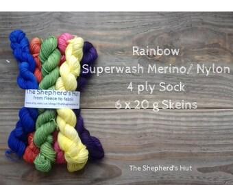 Superwash Merino/Nylon 75/25 Sock yarn Minis 6 x 20 g in 'Rainbow'.