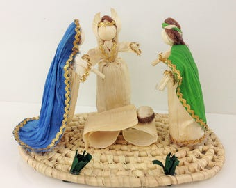 Mexican Corn Husk Nativity Scene Nativity Set Christmas Decor Handmade Christmas Decor Christmas Gift Ideas