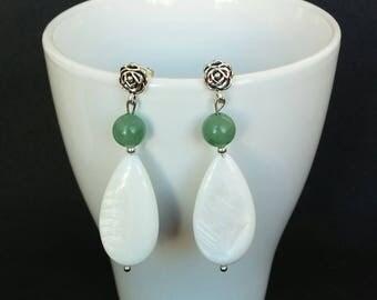 Pearl earrings and Green aventurine