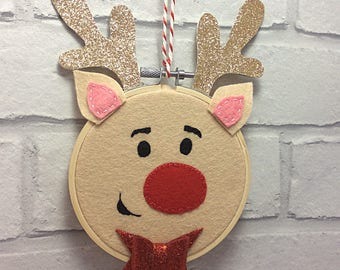 Embroidery hoop Rudolph the Reindeer wall hanging/decoration