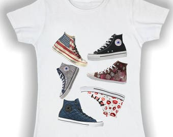T shirt donna basic converse shoes