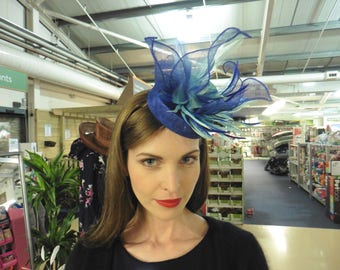 Bright blue and turquoise pillbox hat,Fascinator,Weddings ,Occasions,Ascot Races Hat,HarlequinHats