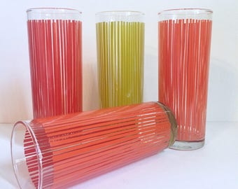 4 Striped Tumblers in Orange/Red and Yellow/Dark Yellow Colors // 1970's