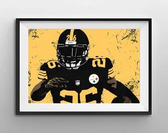 Pittsburgh Steelers Art - Pittsburgh Steelers Print - Pittsburgh Steelers Wall Art - Steelers Poster - LeVeon Bell Digital Illustration