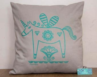 Unicorn Cushion - Hand Screen Printed, Unicorn Print, Horse Cushion, Kid's Cushion, Grey, Unicorn Gift, Housewarming Gift, FREE P&P!